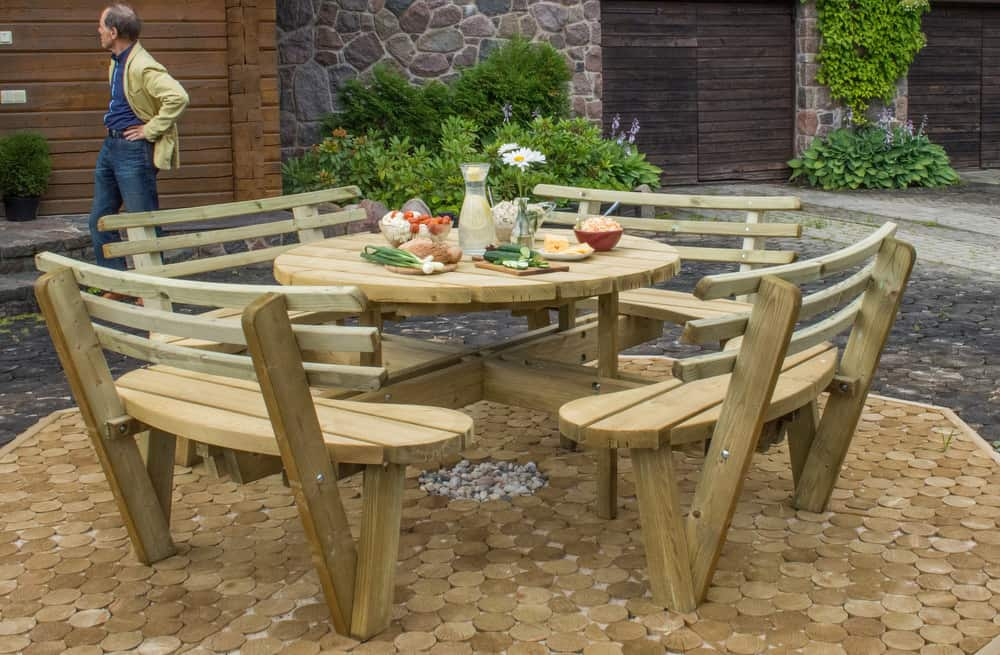 Seater Picnic Table Woodbank Timber - 8 seater round picnic table